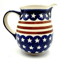 Boleslawiec Polish Pottery Pitcher Stars Stripes M2 Patriotic Red White ... - $29.88