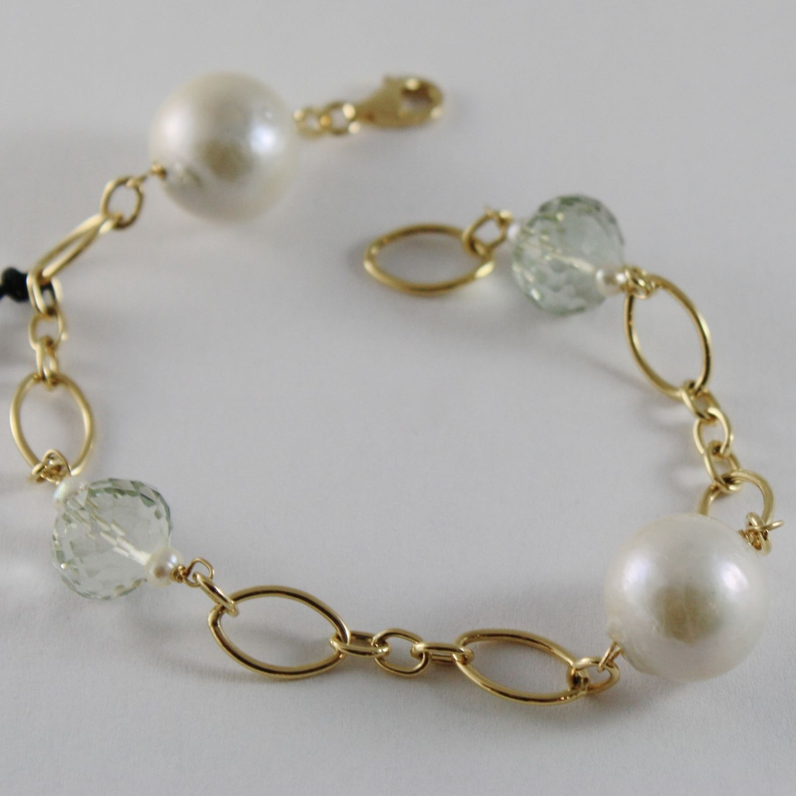 18K YELLOW GOLD BRACELET WITH BIG WHITE PEARLS, CUSHION PRASIOLITE MADE IN ITALY