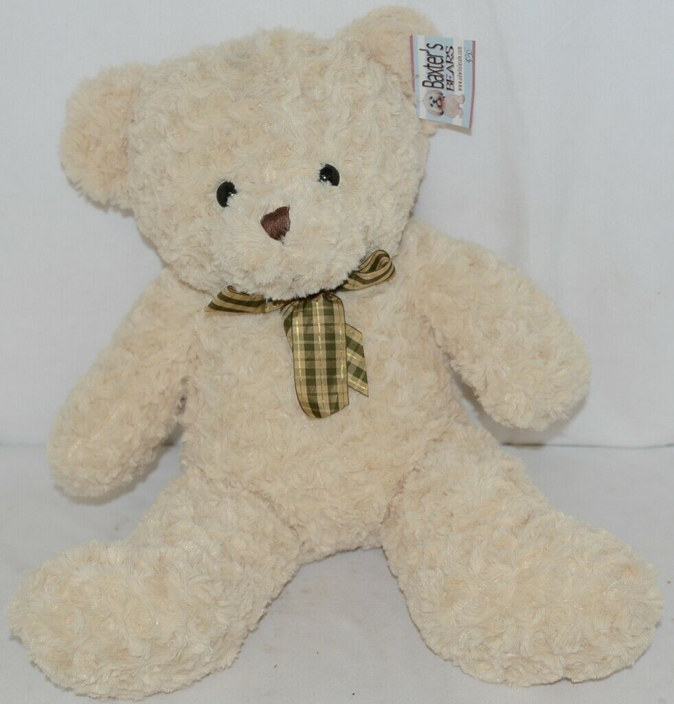 Baxters Bears Plush Ivory Color Teddy Bear Green Gold Plaid Bow