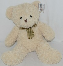 Baxters Bears Plush Ivory Color Teddy Bear Green Gold Plaid Bow image 1