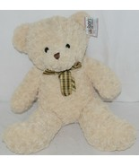 Baxters Bears Plush Ivory Color Teddy Bear Green Gold Plaid Bow - $30.00