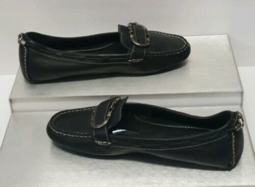 Cole Haan Black Leather Mocas Buckle Strap Loafer Women's 8 B Driving Shoes image 2