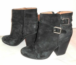 LUCKY BRAND Boots Sz 9M Women Black Suede Leather Block Heel Buckles Boo... - $59.39