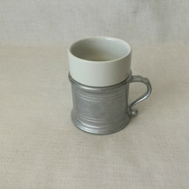 RWP Pewter Wilton Cup Holder with Handle White Porcelain Insert. Made in... - $24.75