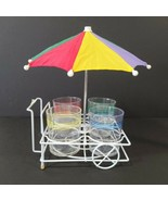 VTG Case Cocktail Cart With 4 Plastic Double Old-Fashioned Glasses Servi... - $29.69