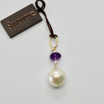 Charm 18k 750 Yellow Gold with White Pearl Freshwater and violet amethyst image 2