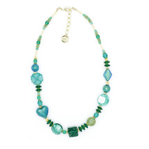 MILENA Necklace Green and Gold Murano Glass - $85.00