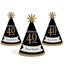 8 pack - Adult 40th Birthday - Mini Cone Party Hats - Small Little - CHEERS - $12.60