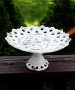 Vintage Lefton Handpainted Floral Lattice Porcelain Tiered Serving Dish ... - $29.69