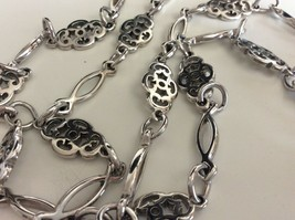 Vintage Crown Trifari Silver Tone Vintage Long Necklace Jewelry 34 Inch - $29.69