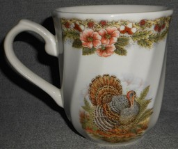 Set (2) Queens THANKSGIVING PATTERN Turkey Themed 10 oz HANDLED MUGS - $39.59
