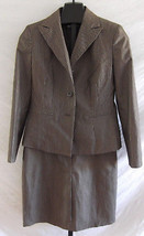 Le Suit Brown White Silver Pin Stripes Skirt Suit Jacket Misses Size 8 - $48.51