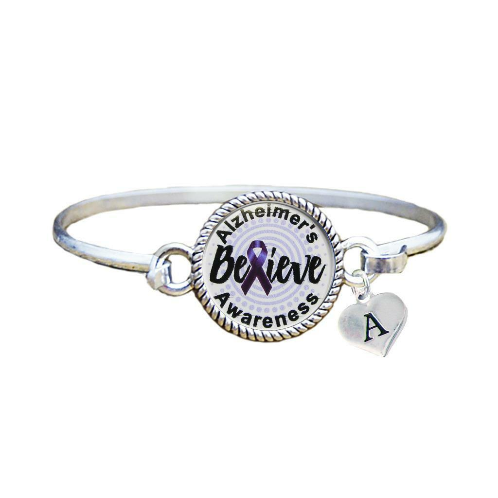 Primary image for Custom Alzheimer's Awareness Believe Silver Bracelet Jewelry Choose Initial
