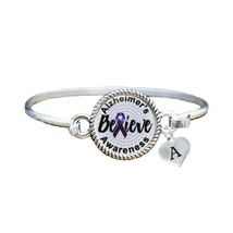Custom Alzheimer's Awareness Believe Silver Bracelet Jewelry Choose Initial - $13.80+