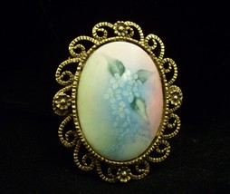 ARTIST SIGNED Hand Painted PORCELAIN Flower Brooch Pin Blue Floral 1972 ... - $19.79
