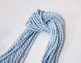 near 4mm 5-10y White w/ Light Blue Non-Wax Polyester Briaded Cord CC16 - $5.99+