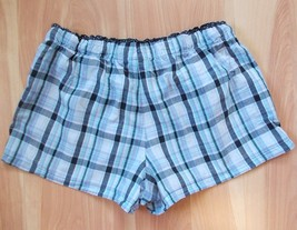 Faded Glory Lady Shorts Sz M(8-10) Plaid Lace Edge Drawstring Boxers 100% Cotton - $5.89