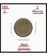 1991 F, West Germany: 5 Pfennig coin - $0.67
