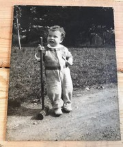 """Vtg 7 1/2"""" x 9 1/2"""" Photo Brwn Hair Toddler Boy w/ Wooden Croquet Mallet... - $18.61"""