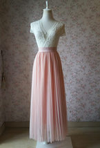 Blush Pink Pleated Tulle Skirt Tulle Pleated Maxi Skirt Elastic High Waist Band image 1