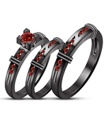 14k Black Gold Over 925 Sterling Silver Red Garnet His Her Wedding Trio ... - £122.07 GBP