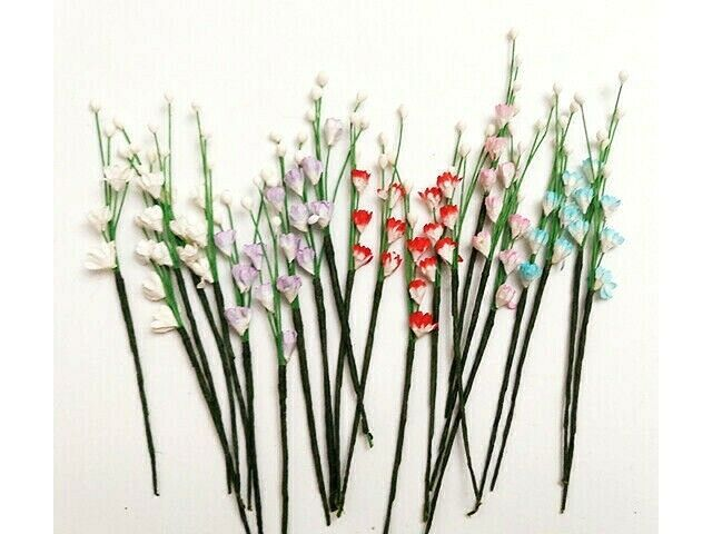 """Mulberry Paper Flowers, Miscellaneous Colors, 5"""" tall, 22 Count"""