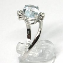 18K WHITE GOLD BAND RING AQUAMARINE 1.25 OVAL CUT & DIAMONDS, MADE IN ITALY image 3