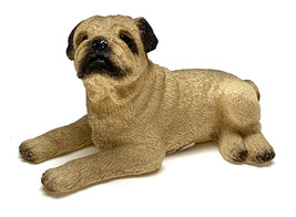 PUG FAWN  DOG Mini Figurine Statue HandPainted Resin Living Stone - $9.95