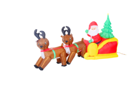 7ft Long LED Outdoor Inflatable Santa Sleigh Reindeer Christmas Yard Dec... - $84.14
