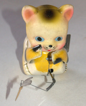 Vintage Tin Cat Butterfly Catcher Metal Toy Wind Up Spring MASUDAYA Japan 1960's image 2