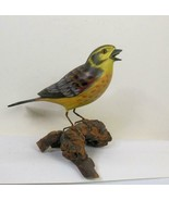 Yellow Songbird on Root Wood Stand 5.5 x 6.5 Inches Hand Painted - $14.85