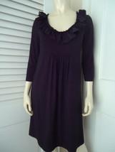 J. CREW Dress S Black Cotton Rayon Spandex Stretch Blend Scoop Ruffle Neck - $39.58