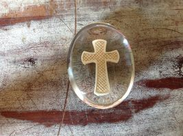 Clear Touch Stone with Cross Inside Word Believe on Cross image 3