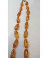 """Vintage BALTIC Orange AMBER BEAD Necklace HAND KNOTTED 28"""" 30 grams Oval... - $120.52"""
