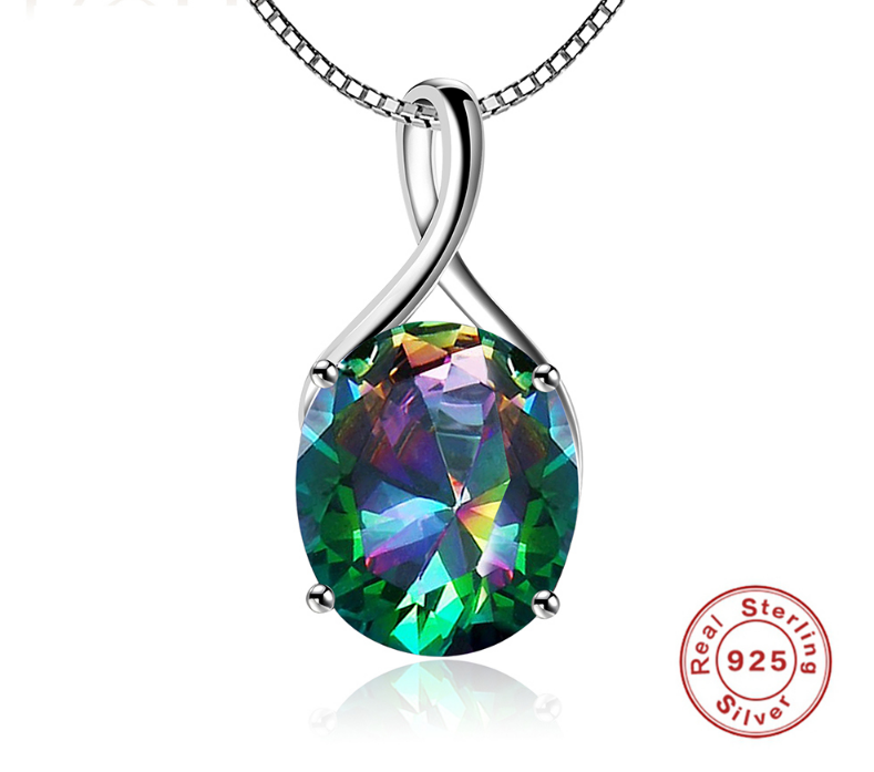 Multicolor Rainbow Mystic Pendants Necklace Real Pure 925 Sterling Silver
