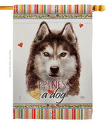 Brown Siberian Husky Happiness - Impressions Decorative House Flag H1102... - $40.97