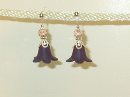 Victorian Purple Flower Bell Earrings with Pink Crystal HC - $9.90