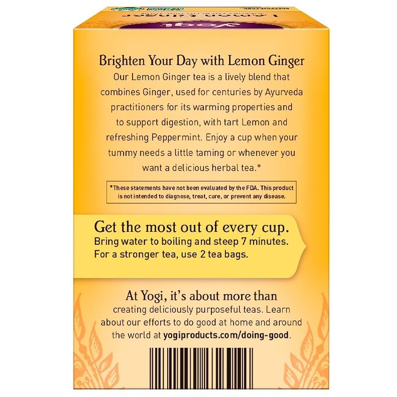 Yogi Tea, Lemon Ginger, Caffeine Free, 16 Tea Bags, 1.27 oz (36 g)