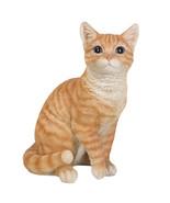 Realistic Orange Tabby Cat Kitten Collectible Figurine Glass Eyes - $43.55
