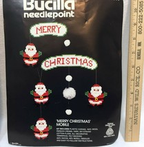Merry Christmas Mobile Bucilla Needlepoint Kit Partially Completed Santas #60585 - $10.88