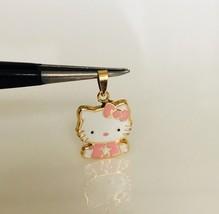 14K Yellow Gold Enamel Hello Kitty Baby Half Body Pendant Pink - $93.48