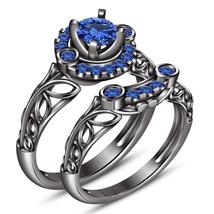 Black Rhodium Finish 925 Silver Blue Sapphire Bridal Women's Engagement ... - $96.99