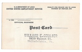 US Dept of Labor United States Employment Service Official Business Pena... - $8.76