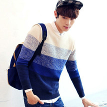 Gradient Striped Mens Sweater Pullover Cotton O Neck Cool Male Sweater Men Knitt - $44.96+