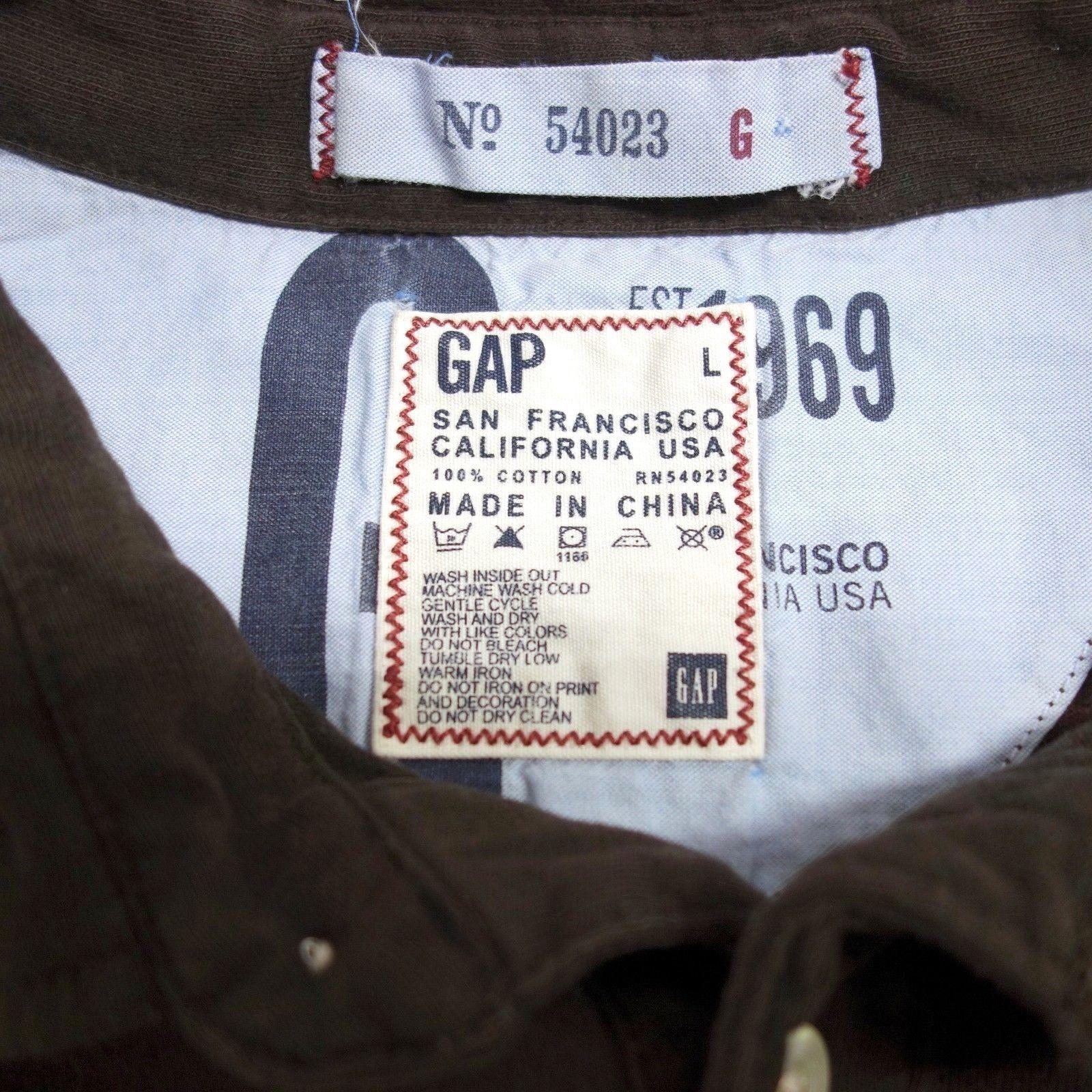 Gap Pocket Polo Shirt Men's Large Brown Cotton Bleached Design Established 1969 image 5
