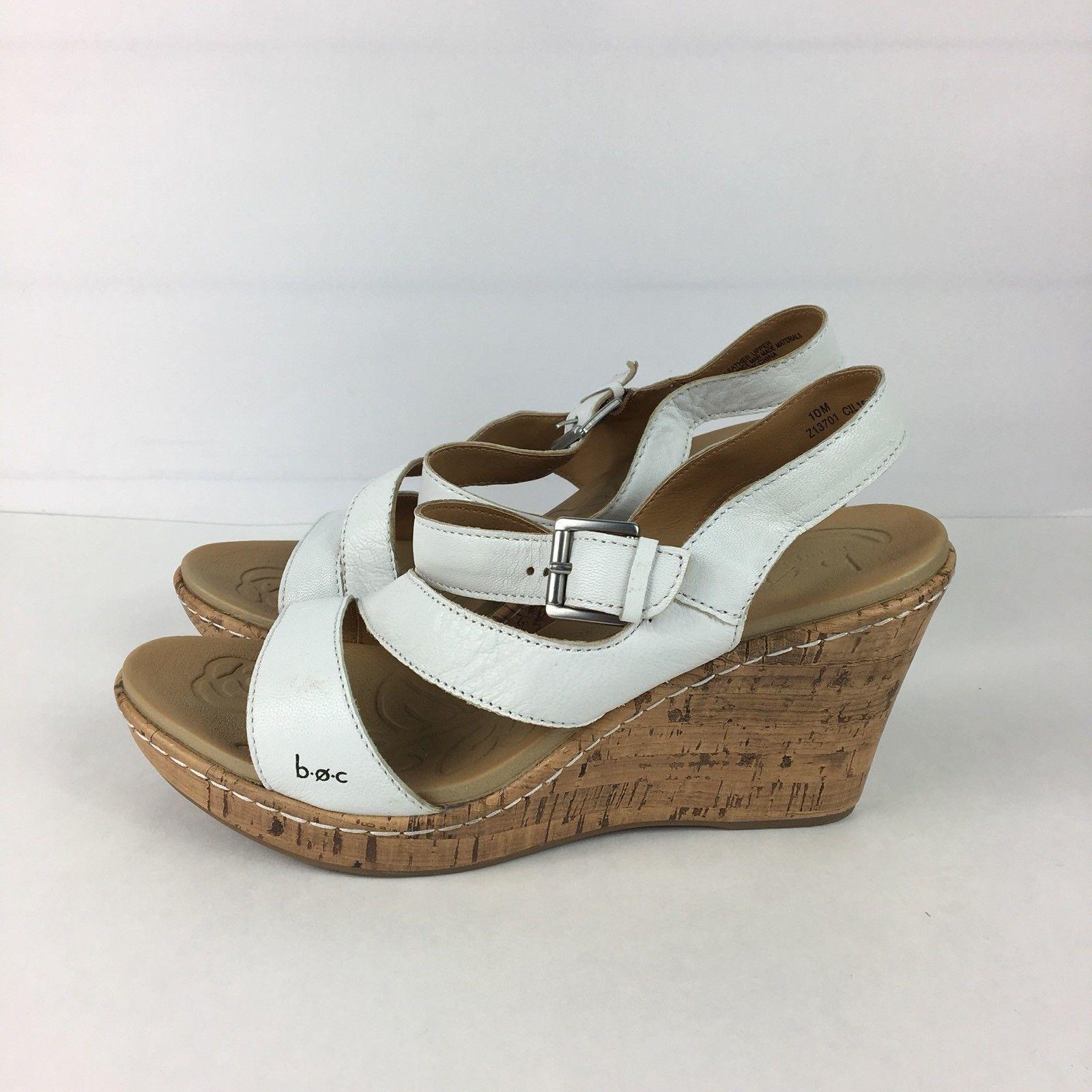 "1810bd863a BOC Born Concept ""Schirra"" Sz 10 White Leather Wedge Sandal Shoe Heel Cork"