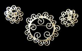 Vtg Sarah Cov Coventry 1971 Silvery Mist swirl brooch pin clip on earrings set - $18.57