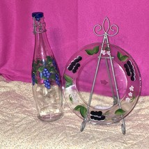 Vtg Hand Painted Glass Bottle Signed Retha 99 and Salad Dessert Plate Gr... - $24.74