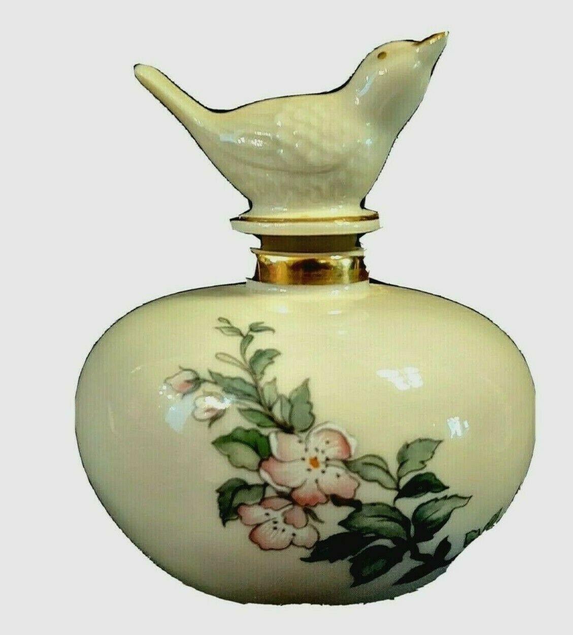 Lenox Serenade Perfume Bottle w/ Bird Stopper, Ivory Colored, Dogwood Pattern - $16.81