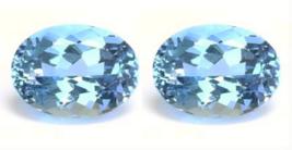 2 OVAL SAPPHIRE AQUA LIGHT BLUE 6x4 mm LOOSE PAIR DIAMOND-SPARKLING HARD... - $9.99